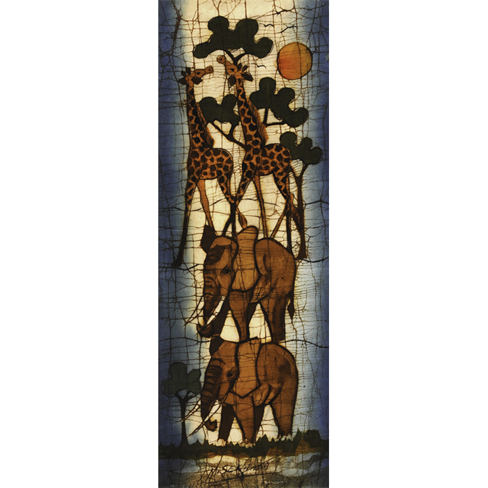 AFRICAN PAINTING ELEPHANTS IN THE WILDE